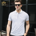 Miuk 2017 Classic Cotton Striped White Red Gray Navy Turn-down Collar Polo T-shirt XXL Size Camisa Masculina