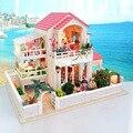 D002 Большой деревянный кукольный дом хонгда поделки вилла миниатюрный кукольный домик миниатюре Мебели Деревянные дома Включают в Себя пылезащитный чехол