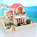 D002 Large wooden doll house hongda diy miniature dollhouse villa miniatura Furniture Wooden houses Include the dust cover