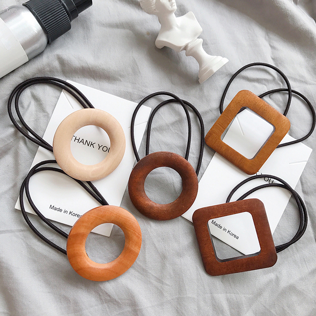 AOMU 1PC Korea Fashion Rubber Elastic Hair Bands Geometry Round Oval Vintage Wooden Hair Rope Women Hair Accessories