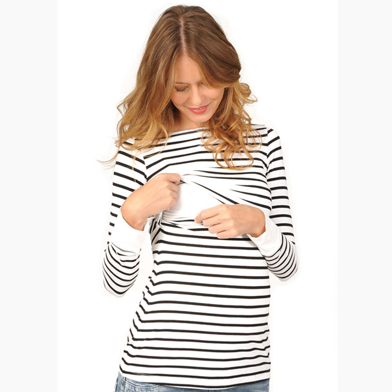 Fashion Striped Maternity Tops/T-shirt Pregnancy Maternity Clothes Breastfeeding Shirt Nursing Tops For Pregnant Women Size S-XL
