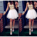 White And Gold Short 2/Two Piece Prom Dresses With Spaghetti Straps A Line Tulle Crystals And Beading Party Women Dress