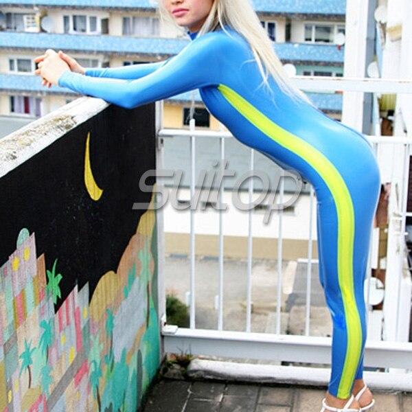 Высокое качество плотно прилегающие латекс одежда резиновая комбинезон мода комбинезон для женщины в синий и желтый отделкой