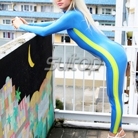 High quality close fitting latex apparel rubber jumpsuit fashion catsuit for woman in blue and yellow trim