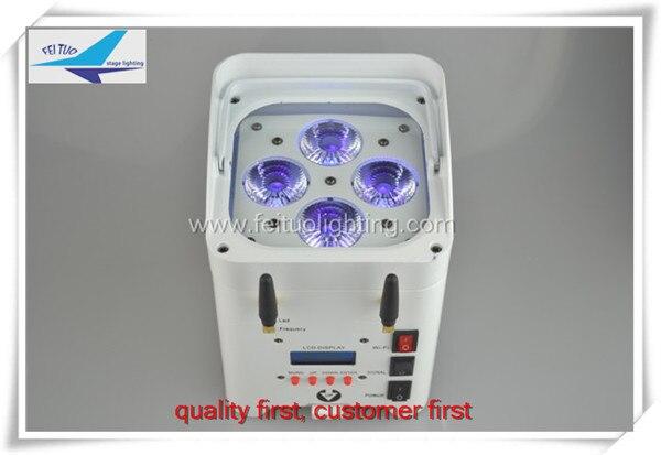 4/lot cina wifi di controllo 4x12 w 6in1 rgbwa uv dmx alimentato a batteria led uplight o la batteria ha condotto la luce par