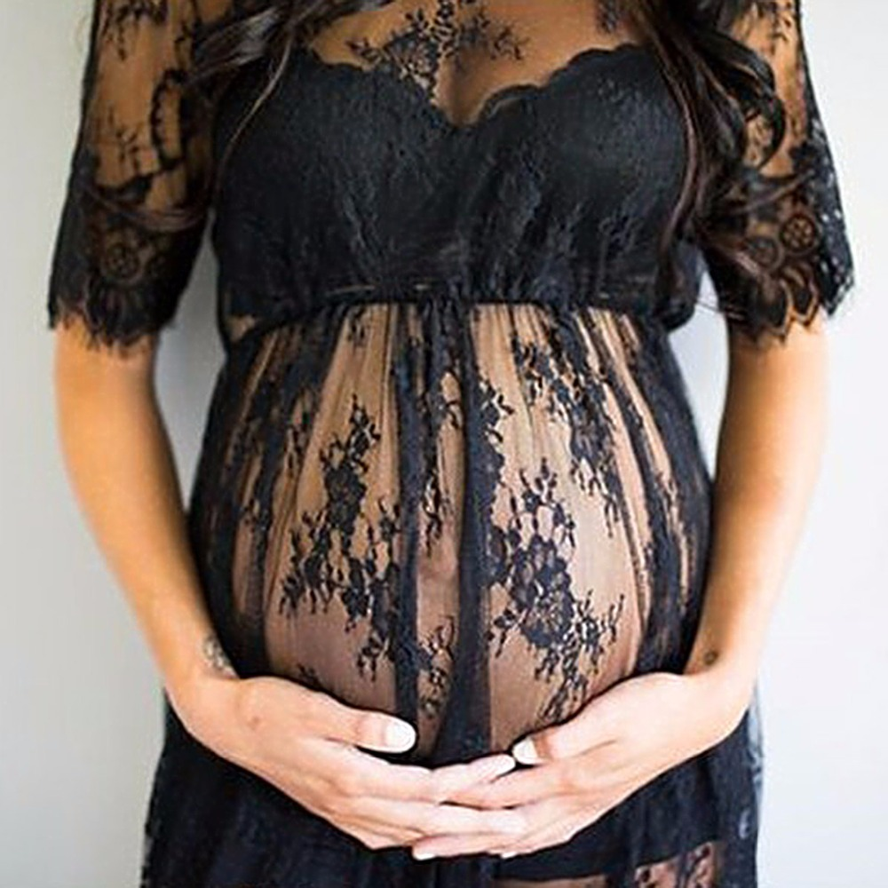 Pregnant Women Lace nighty Dresses Maternity Photography Fancy Props Dresses Maternity Photo Shooting Crochet Lace Dresses