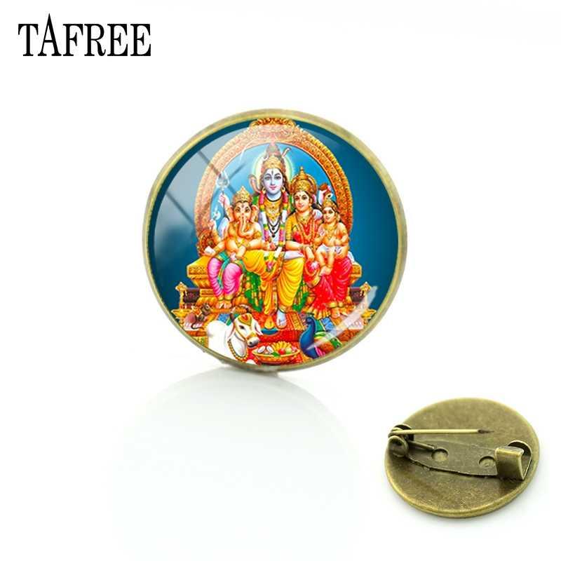 TAFREE 主シヴァ画像ブローチヒンドゥー教スタイルの古典的なピンアップ女性アクセサリーファッションバッジガラスカボションジュエリー LS34
