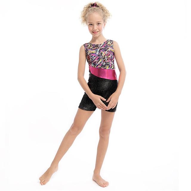 Nouveau 3-15Y Filles Ballet Justaucorps Sans Manches Biketard Filles Ballet  Costumes Dancesuit De Gymnastique 18ba1c4493d