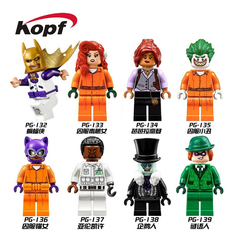 Building Blocks Super Heroes Single Sale Batman Prison Catwoman Joker Aaron Cash Barbara Gordon Riddler Penguin Kids Toys PG8041 single sale pirate suit batman bruce wayne classic tv batcave super heroes minifigures model building blocks kids toys gifts