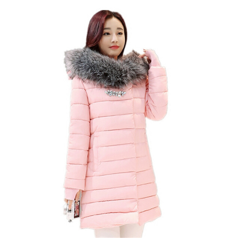 2017 autumn and winter new Korean version of thin long hair big hair collar Hooded Coat thickening warm down cotton womens coat