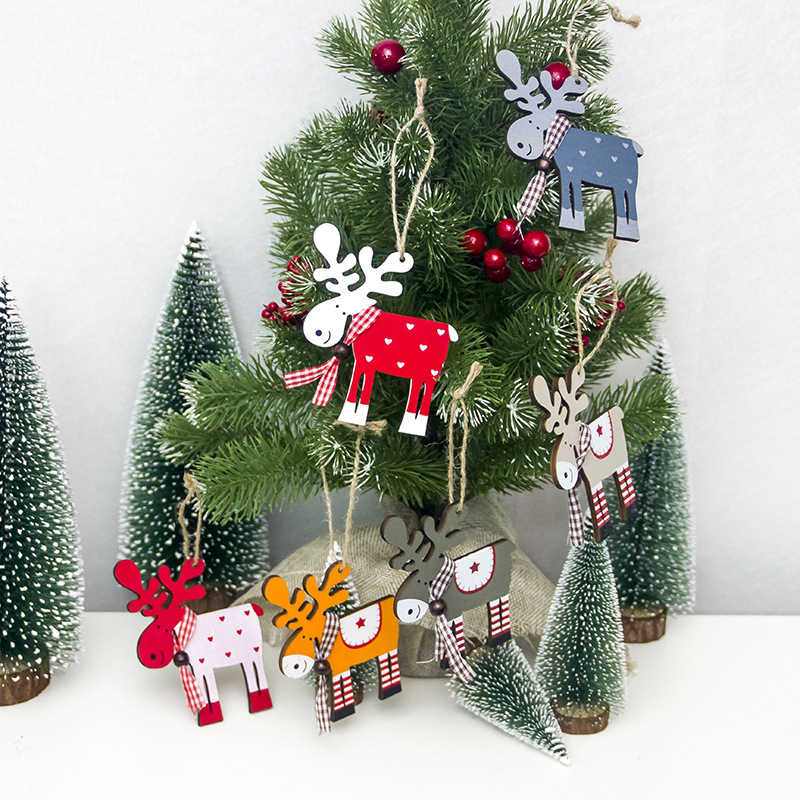 1pc Christmas Tree Decorations Cute Reindeer Wood Christmas Ornament Pendant Diy Xmas Christmas Decorations For Tree Aliexpress