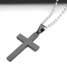 new simple mens stainless steel cross pendant necklaces long silver color bead chain sweater necklaces for women fashion jewelry