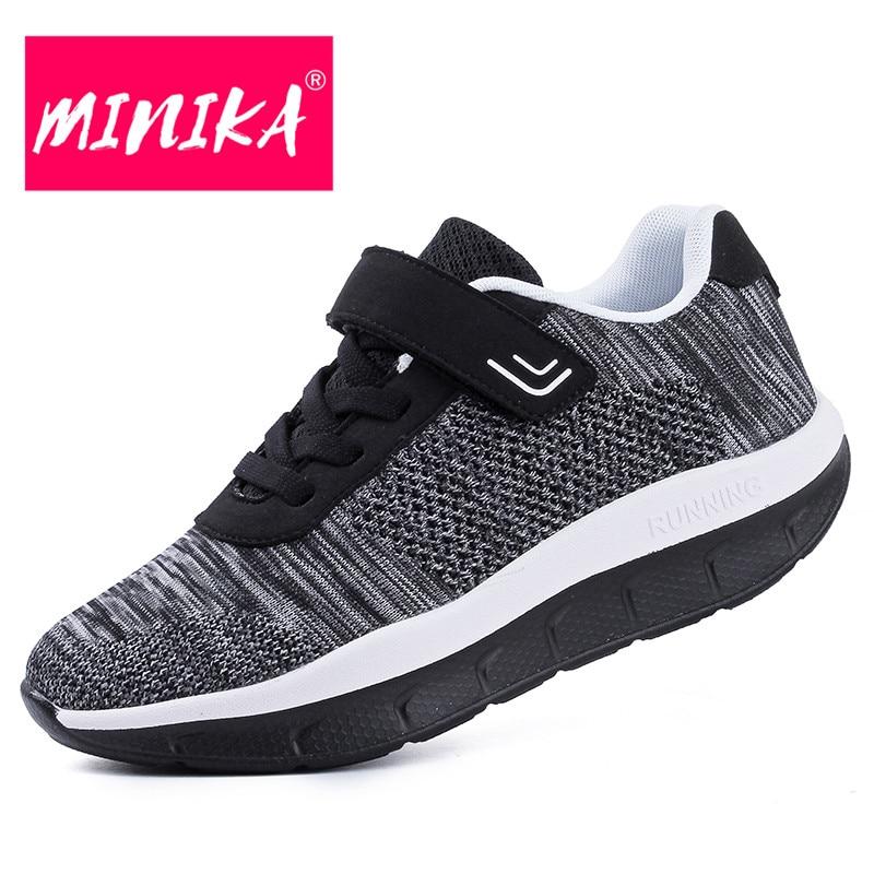 MINIKA Casual Shoes Women Solid Colors Lace Up Platform Shoes Women High Quality Rubber Outsole Big Size Shoes Women 35-42