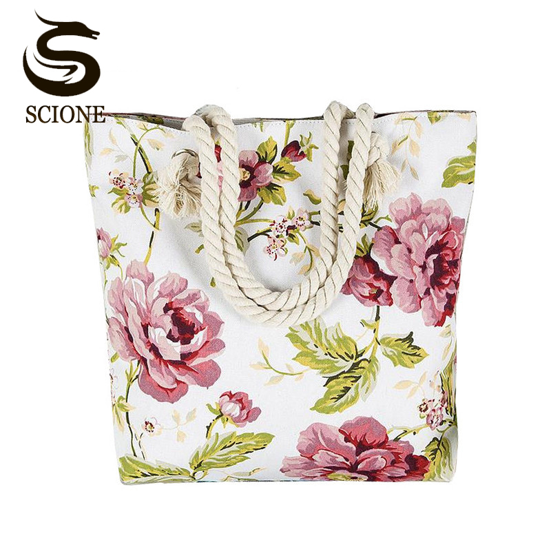 Fashionable Flower Printing Women Handbags Canvas Women Beach Bag Casual Shopping Tote Mummy Shoulder Bag drop shipping JXY820 scione new canvas women bag shopping shoulder bag funny design piano printing handbag beach tote woman canvas hand bags 2pcs set