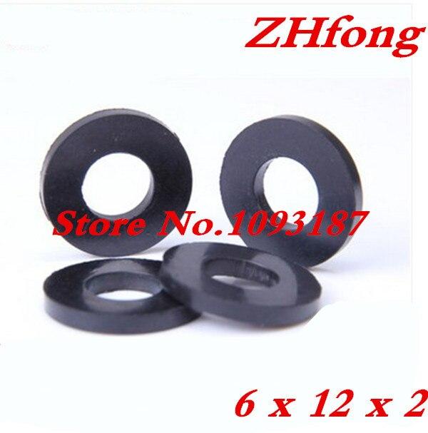 500PCS/LOT High Quality M6 X 12 X 2 6mm Rubber Flat Washer black-in ...