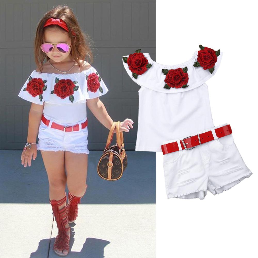 1-7Y Infant Kids Baby Girl Clothes Sets 2019 Summer Fashion Off Shoulder 3D Rose Flower Cotton Top Skirt Outfit Set