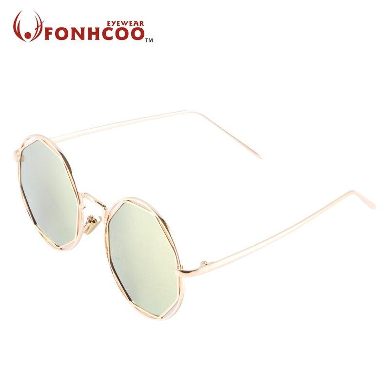 Straightforward 2018 Fonhcoo Brand Reflective Color Film Vintage Retro Glasses Polygon Hollow Round Face Sunglasses Men Women Uv400 Protection Fine Workmanship Women's Sunglasses Apparel Accessories