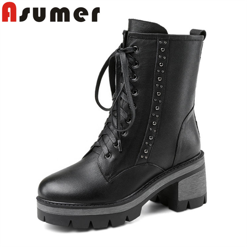 ASUMER NEW ARRIVE 2018 adult fashion ankle boots for women black simple winter boots cross tied round toe genuine leather boots autumn and winter high quality new arrive genuine leather simple zip ankle boots fashion round toe sweet women boots