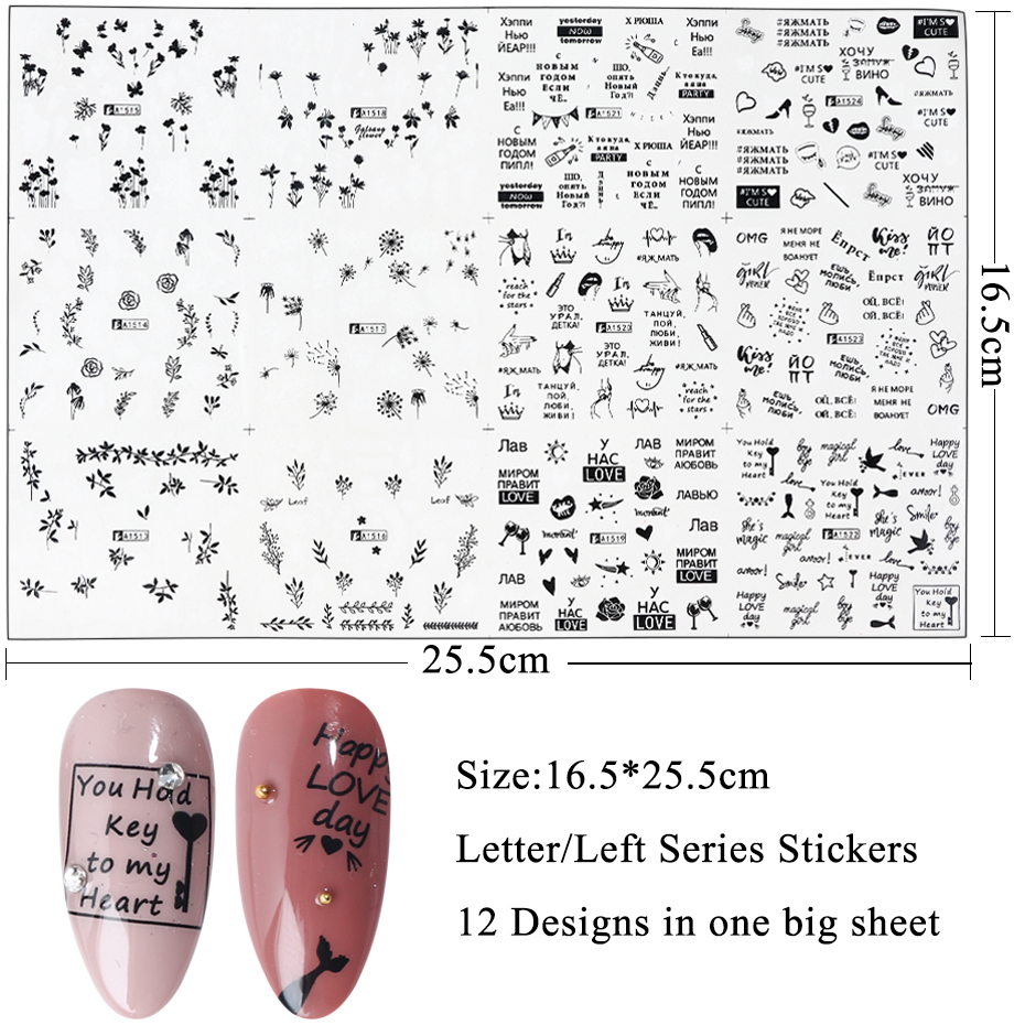 Image 2 - 12pcs Russian Letter Water Transfer Sticker Flower Butterfly Slider For Nails Black Sexy Girls Wraps Decorations SAA1513 1524 1-in Stickers & Decals from Beauty & Health