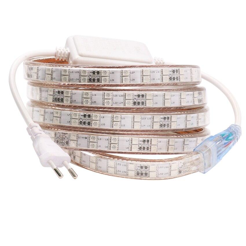 цена на 120leds/m 220V 240V RGB led strip 5050 Double Row warm white/white/RGB led tape light home decoration 1m 5m 10m 15m 20m 50m 100m