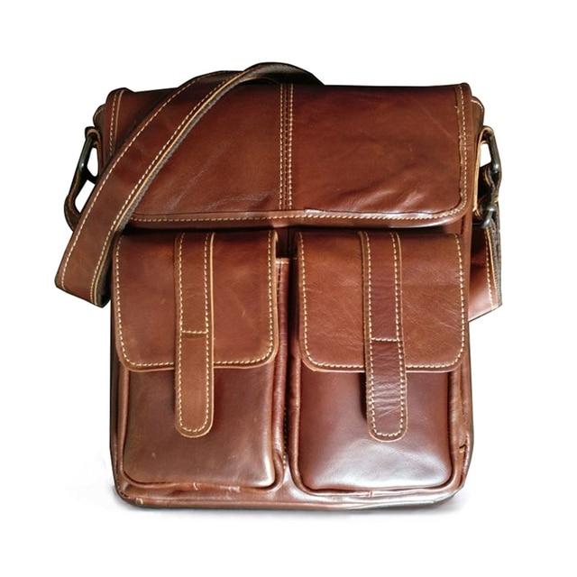 bf0f966d67 Marchio di moda del Cuoio Genuino degli uomini Messenger Bag Retro Design  Business In Pelle di. Posiziona il mouse sopra per ingrandire