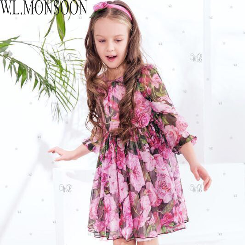 W.L.MONSOON Princess Party Dress Girls Summer Dresses 2017 Brand Silk Chiffon Clothes Kids Costumes Rose Flower Dress Children girls party dresses silk chiffon 2017 brand toddler dress princess costume for kids clothes flower robe enfant children dress