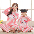 Parent child pajamas Autumn mother cotton long sleeved pajamas cartoon girls'nightwear lovely ladies Home Furnishing clothes