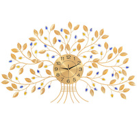 Home Decoration Iron Wall Tree Clock Lucky Big Wall Clock Animation Wall Decoration Metal Living Room Crack Glass Watch Gift