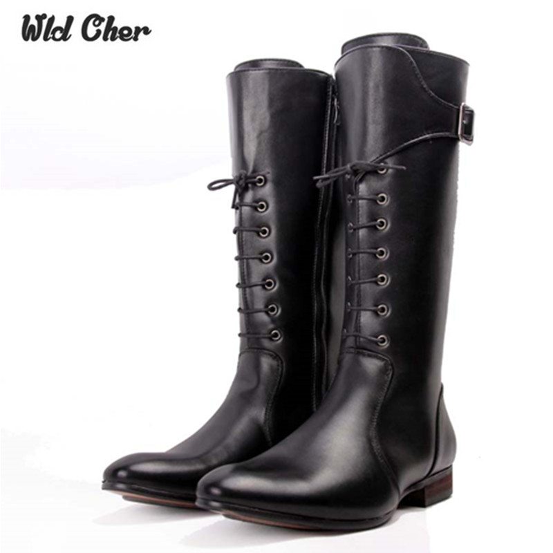 2017 lace up high boots mens black military boots natural cow leather men long waterproof. Black Bedroom Furniture Sets. Home Design Ideas