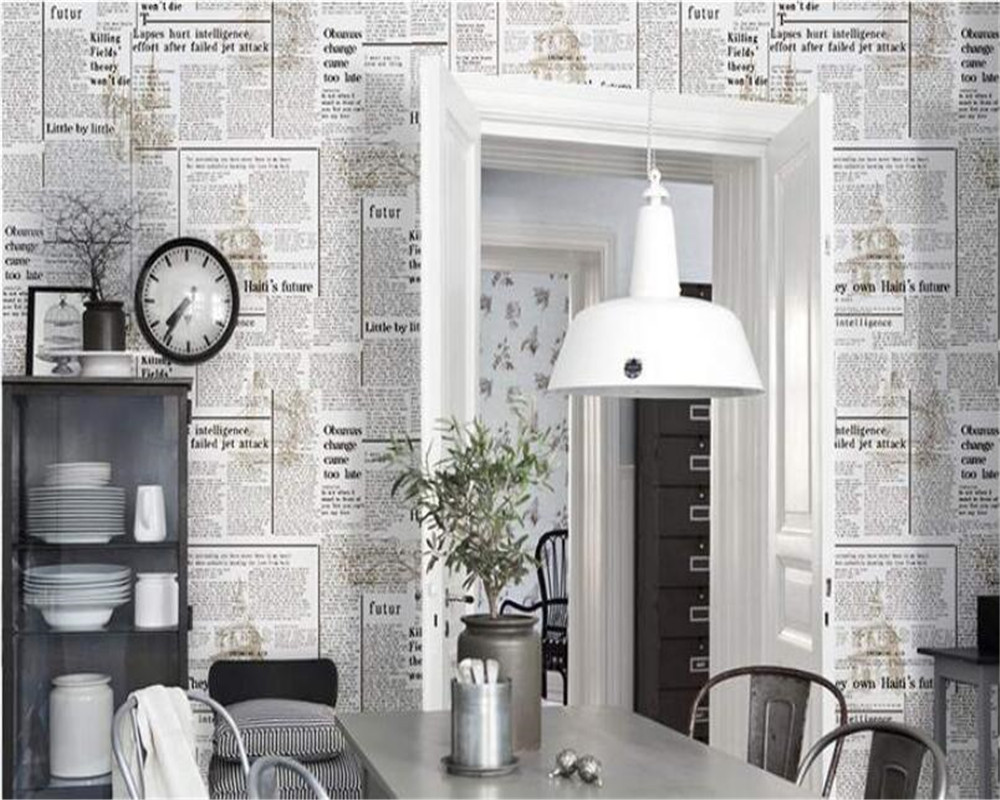 Beibehang Retro nostalgic English newspaper letter shop wall wallpaper western restaurant  background clothing store wallpaper beibehang do the old newspaper paper english newspaper news pvc wallpaper library coffee shop restaurant background wallpaper