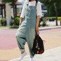 Mulheres Casuais Macacão Jeans 2016 buraco Branqueada Lavado Macacões Senhoras Bolsos Soltos Calças Jeans Da Moda Calças