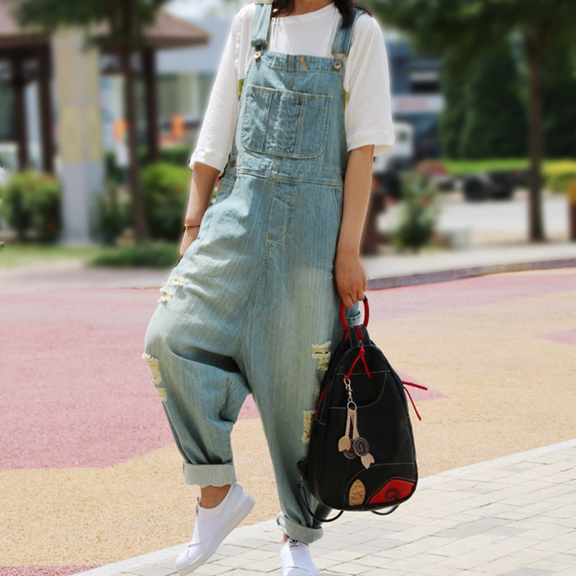 Women Casual Denim Overalls 2016 hole Bleached Washed Jumpsuits Ladies Pockets Loose Fashion Denim Pants Trousers