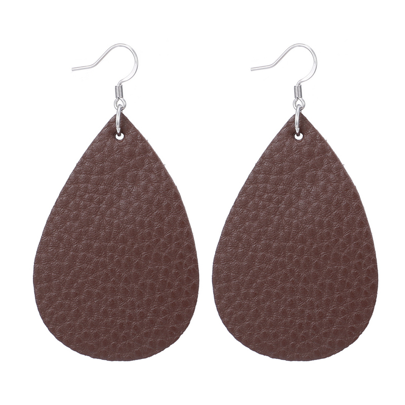 New Teardrop Leather Earrings Petal Drop Earrings Antique Lightweight S925 Carved Stainless Steel Earrings For Women Gifts 23