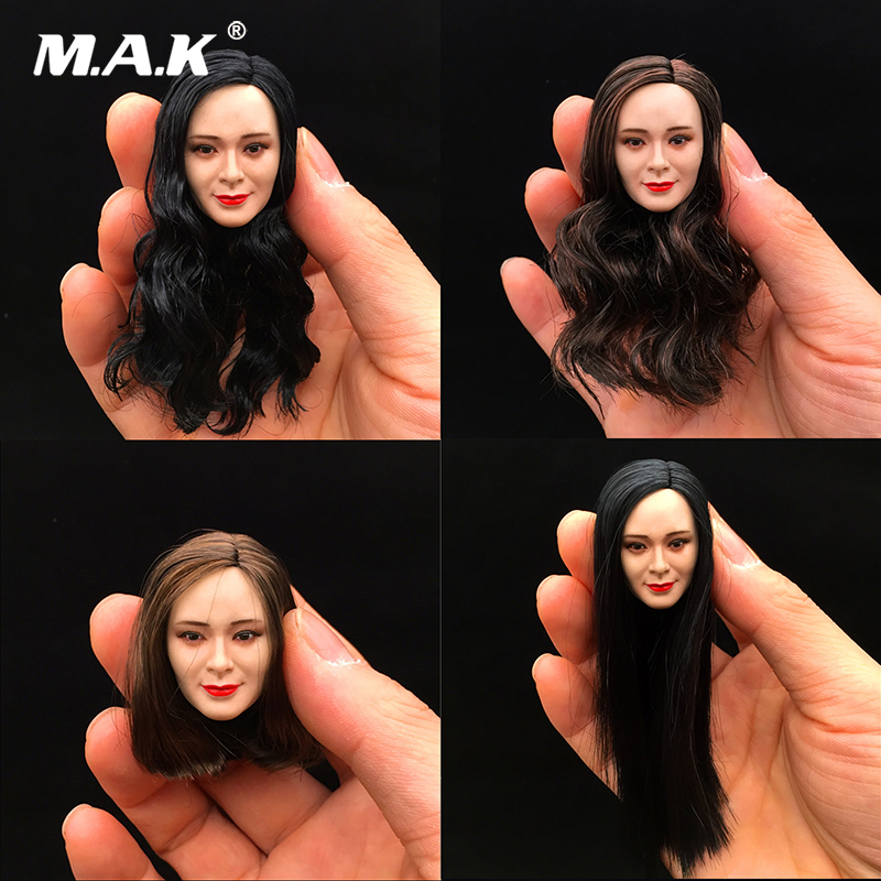 1/6 Scale Asian actress star Yang Mi Headplay Figure Head Model Female Head Sculpt Black Hair 12 Action Figure Collection mak custom 1 6 scale hugh jackman head sculpt wolverine male headplay model fit 12kumik body figures