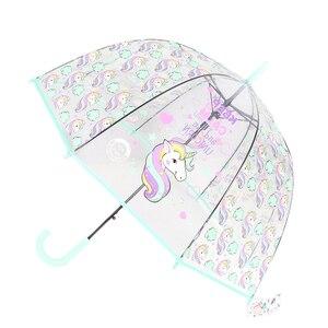 Kids Umbrella Unicorn Transparent Umbrellas Children Laser Umbrella Cute Cartoon Alpaca Girl Umbrellas Sakura Dropshipping(China)