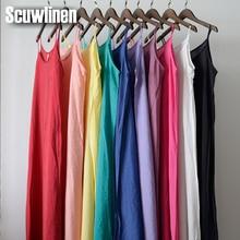 SCUWLINEN Vestidos, летнее платье, одноцветное, много цветов, натуральный шелк, хлопок, слипы, платья размера плюс, сексуальное, базовое, Пляжное Платье S200