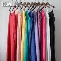 SCUWLINEN Vestidos 2018 Solide Multi-Farbe Natürliche Seide Baumwolle Slips Kleider Plus Größe Sexy Slip S200
