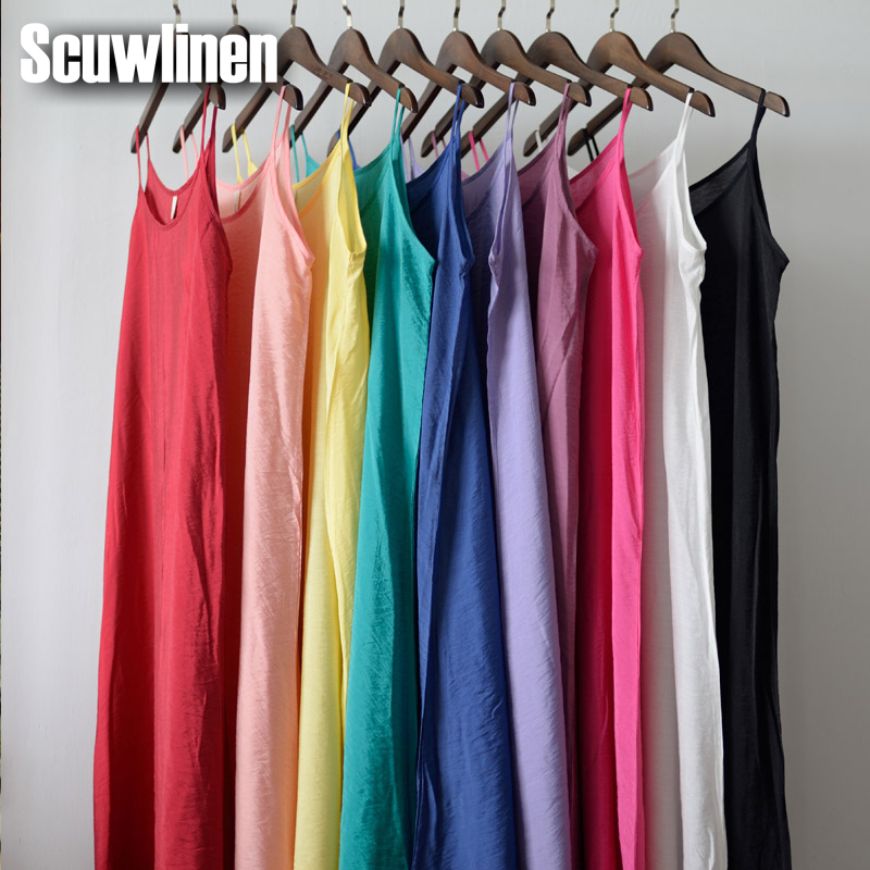 SCUWLINEN Vestidos 2019 Sommerkjole Solid Multi-Color Naturlig Silke Bomull Slips Kjoler Plus Size Sexy Basic Beach Dress S200