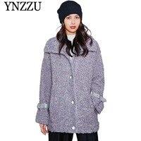 YNZZU 2019 Oversize Turn down collar Women Lamb coat Purple Buttons Ladies Loose Faux Fur Coat Winter Warm Teddy Jackets YO873