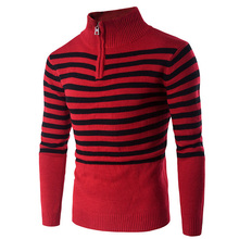 New arrival Men Sweater China Red with black striped Slim fit Fashion Mens Pullovers Clothes Festive Red Long Sleeve Male