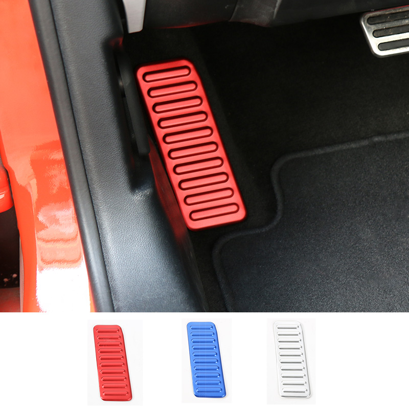MOPAI Aluminium Car Interior Left Foot Rest Pedal Decoration Frame Stickers for Ford Mustang 2015 Up Car Styling цена