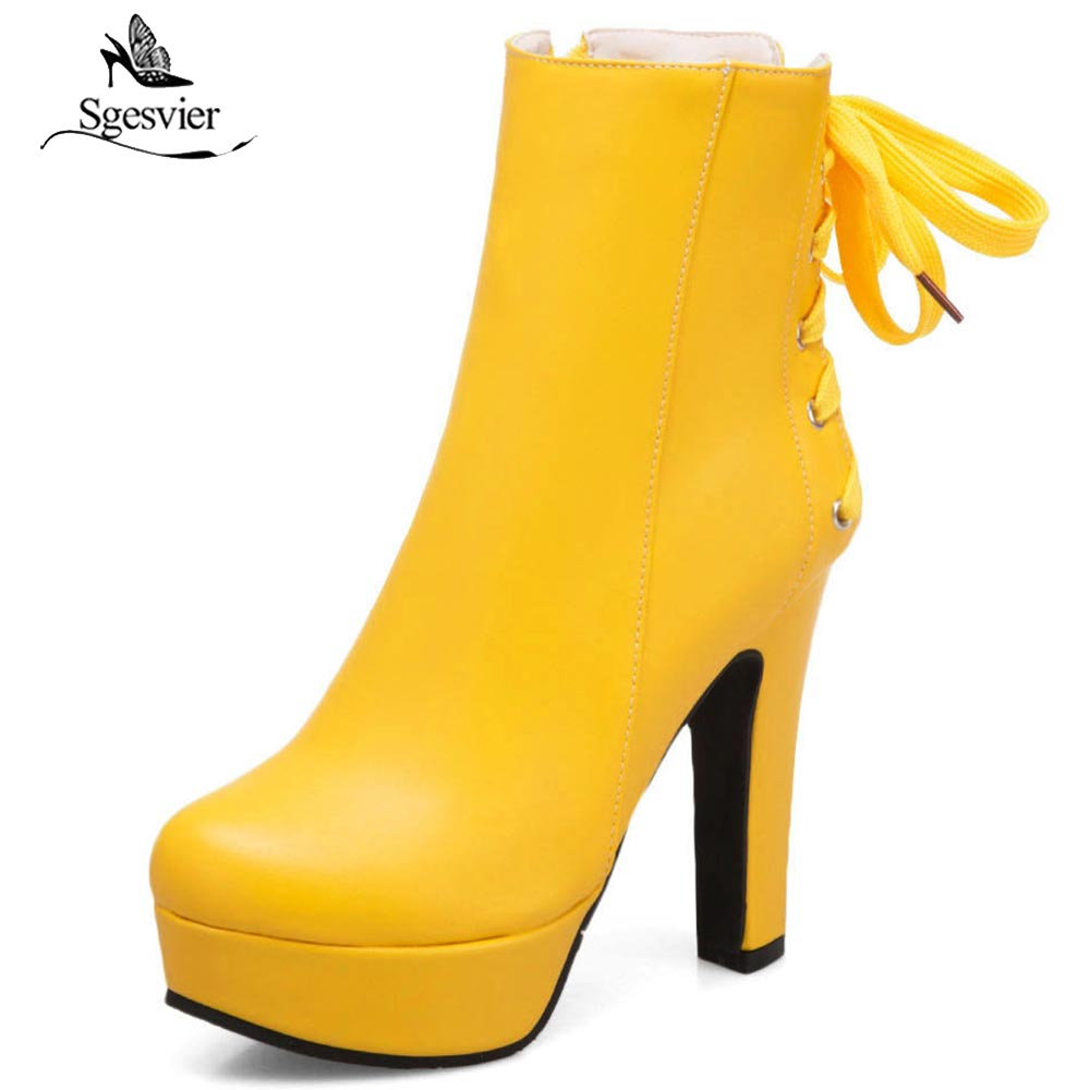 Sgesvier Large Size 35-50 Sweet Style Platform Women Shoes Fashion Thick High Heel Lace Up Zip Ankle Boots Autumn Winter OX583 2018 spring new design women shoes high heels thick soled platform shoes lace up bullock style mid heel big size sweet girls