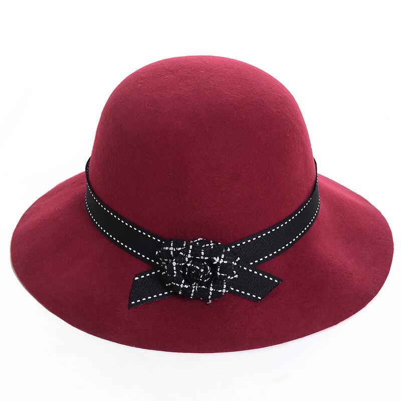 Women Elegant Felt Fedora Round Bowler Hats Flower Church Vintage Hats Women Royal Princess Caps