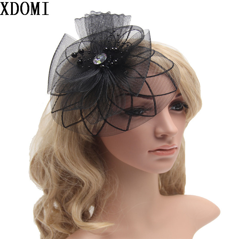 2016 Retail Wedding Holiday Fascinator Cocktail Hat For Women French Veiling Hair Headband Vintage Fashion Lady Party Accessory women s hats and fascinators vintage sinamay sagittate feather fascinator with headband tocados sombreros bodas free shipping