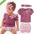Bebé Ropa de La Muchacha Venda de La Flor de Impresión de Manga Corta Camiseta de los Pantalones 3 PIEZAS Conjunto Del Verano Del Bebé Ropa de la Muchacha Fijó Púrpura Roupa de Bebe