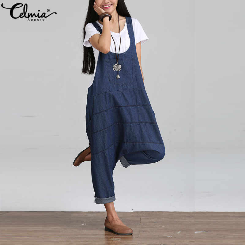 a178321afaa5 2018 Celmia Plus Size Women Jumpsuit Denim Overall Female Casual Strap  Ripped Pockets Long Denim Jeans