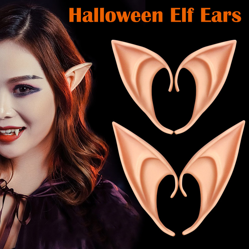 1 Pair Latex Elf Ears anime Party Props Gift Halloween Costume hairwear silicone ear decoration H9