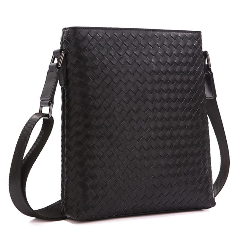 TIDING Men's Messenger Bags Hand-finished Woven Leather Trim Luxury Brand Shoulder Bag 1144 цены онлайн