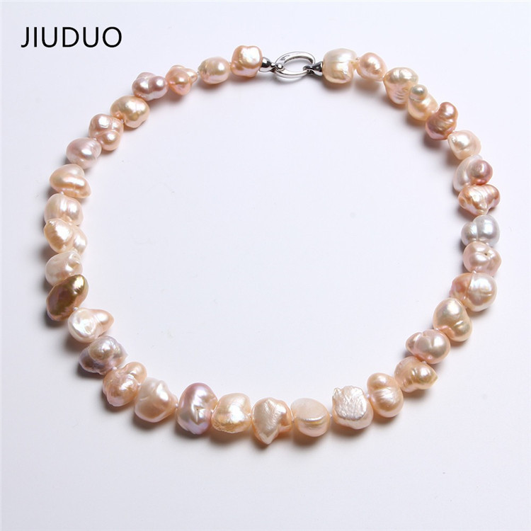 thickness necklaces Unusual shape for women pearl flat JIUDUO Good few color gloss Irregular necklace 17-19mm oval white golden 5