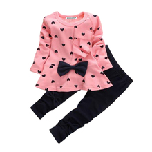 The girls clothes 2016 spring and autumn children set 2-5 year old cute girl / two piece style Set Butterfly Knot fashion clo